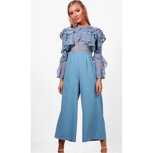 NWT Boohoo Lace Ruffle Culotte Jumpsuit